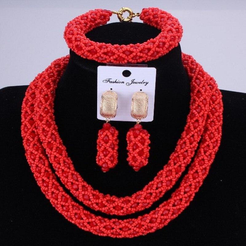 2018 Nigerian African Jewelry Sets Crystal Choker Set Fashion Wedding Hot Red New Big Design Dubai Rose Ethnic Jewelry Set