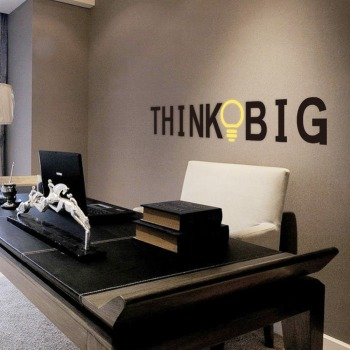 Vinyl Quotes Wall Stickers THINK BIG Removable Decorative Decals for office Decor Wall Sticker Decal Mural Home decoration