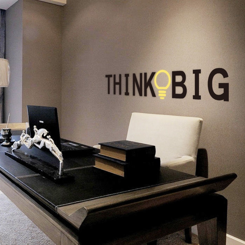 Vinyl Quotes Wall Stickers THINK BIG Removable Decorative Decals for office Decor Wall Sticker Decal Mural Home decoration image