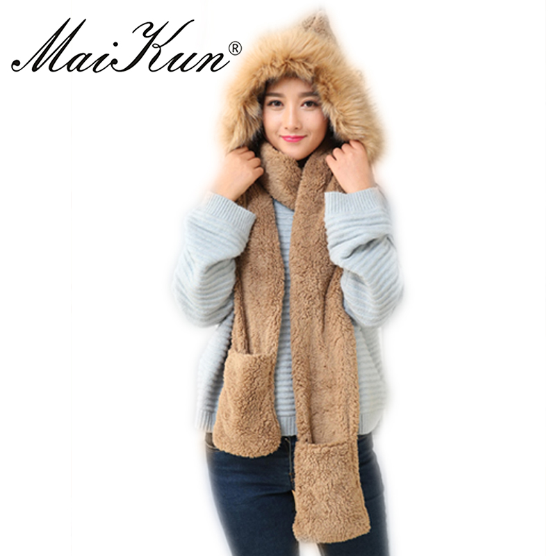 Maikun Women Winter Scarf Scarves Female Warm Scarf Soft Plush Hooded Cap Hat Scarves Pocket Gloves