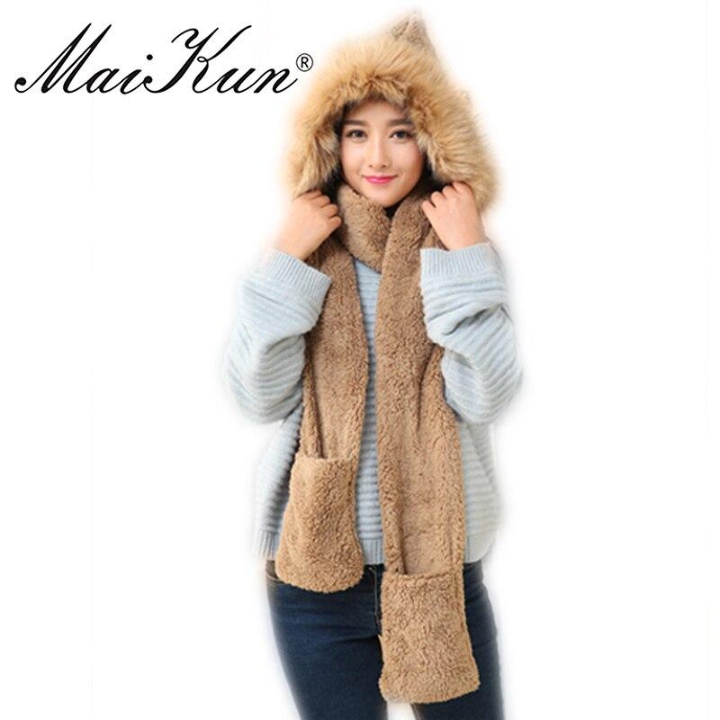 Maikun Women Winter Scarf Scarves Female Warm Scarf Soft Plush Hooded Cap Hat Scarves Pocket Gloves