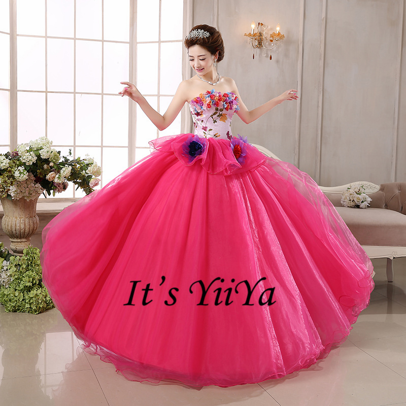 Free shipping new 2017 hot pink princess strapless flowers for Pink wedding dresses 2017