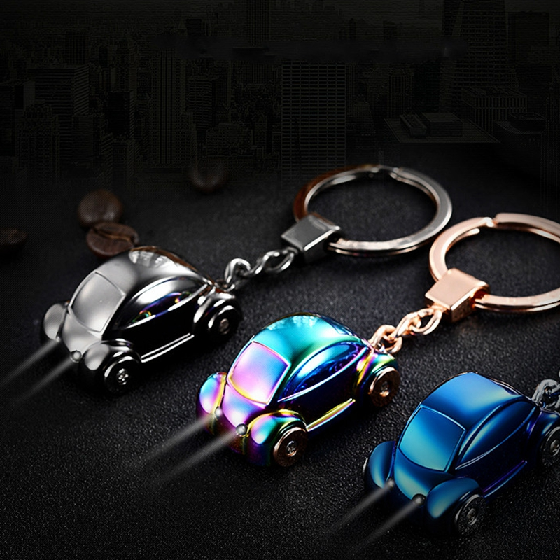 Metal car led keychain Light key holder zinc alloy keyring key fob men gift porte clef llavero chaveiro carro For VW Golf 4 5