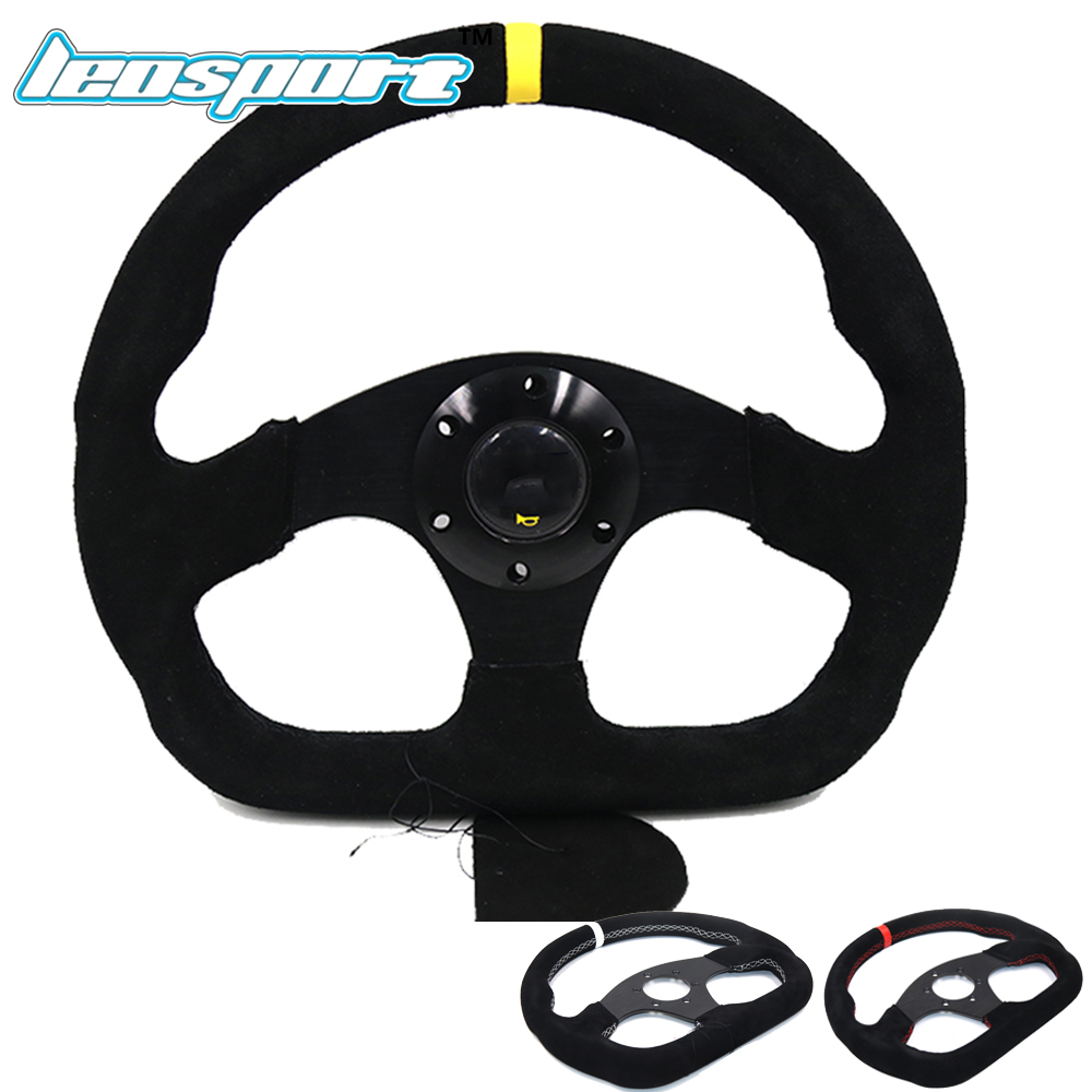 Leosport 13inch For OMP MOMO style Steering Wheel Suede Leather black red white line Steering Wheel