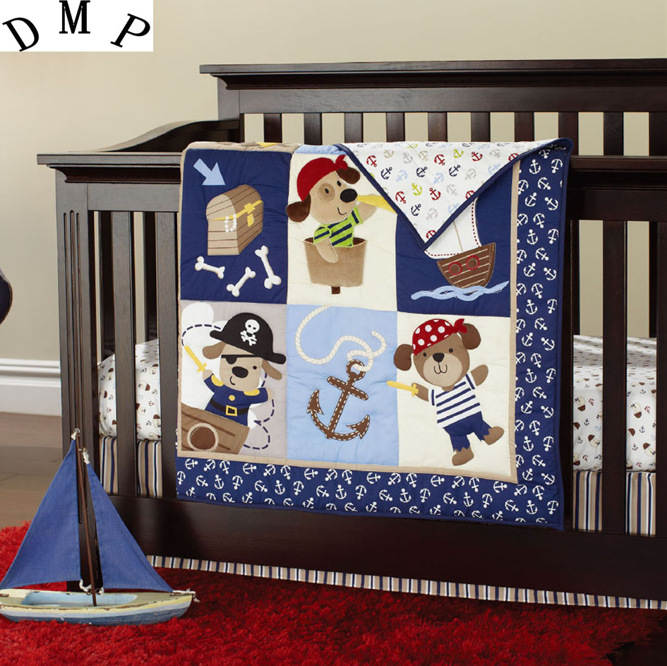 Promotion! 7PCS embroidered Appliqued Baby Cot Crib Bedding set for girls ,include(bumper+duvet+bed cover+bed skirt) promotion  7pcs embroidery appliqued 3d