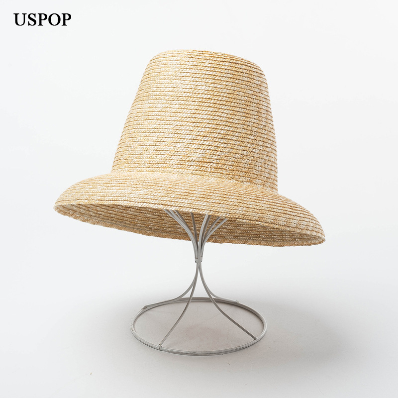 USPOP 2020 new women high top straw hat natural wheat straw sun hat fashion summer women beach hat