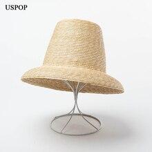 USPOP 2020 yeni kadın yüksek üst hasır şapka doğal buğday samanı güneş şapkası moda yaz kadın plaj şapkası
