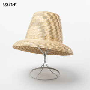 Image 1 - USPOP 2020 yeni kadın yüksek üst hasır şapka doğal buğday samanı güneş şapkası moda yaz kadın plaj şapkası
