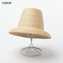 Uspop 2020 新しい女性高トップストローハットナチュラル小麦わら太陽の帽子ファッション夏の女性のビーチ帽子