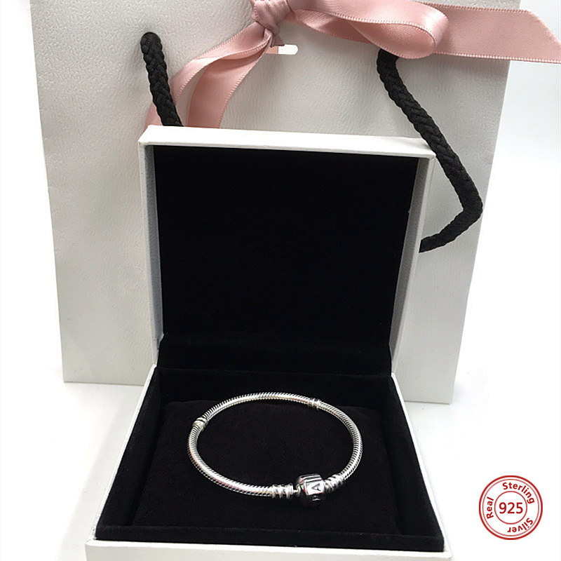 Perfect Charm logo Engraved S925 Silver bangle pandoras bracelet beads chain pendant pulsera iconic Bangle jewelry DIY