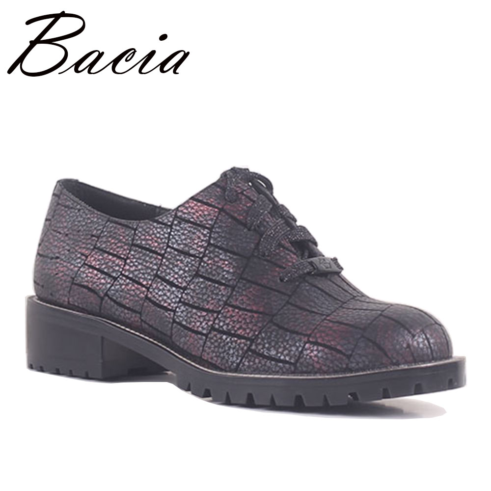 Bacia Fashion Stone Pattern Cow Leather Flats Lace Up Casual Round Toe Walking Work Shoes Flat Genuine Leather Size 36-40 SB046 foreada genuine leather shoes women flats round toe lace up oxfords shoes real leather casual boat shoes brown pink size 34 40
