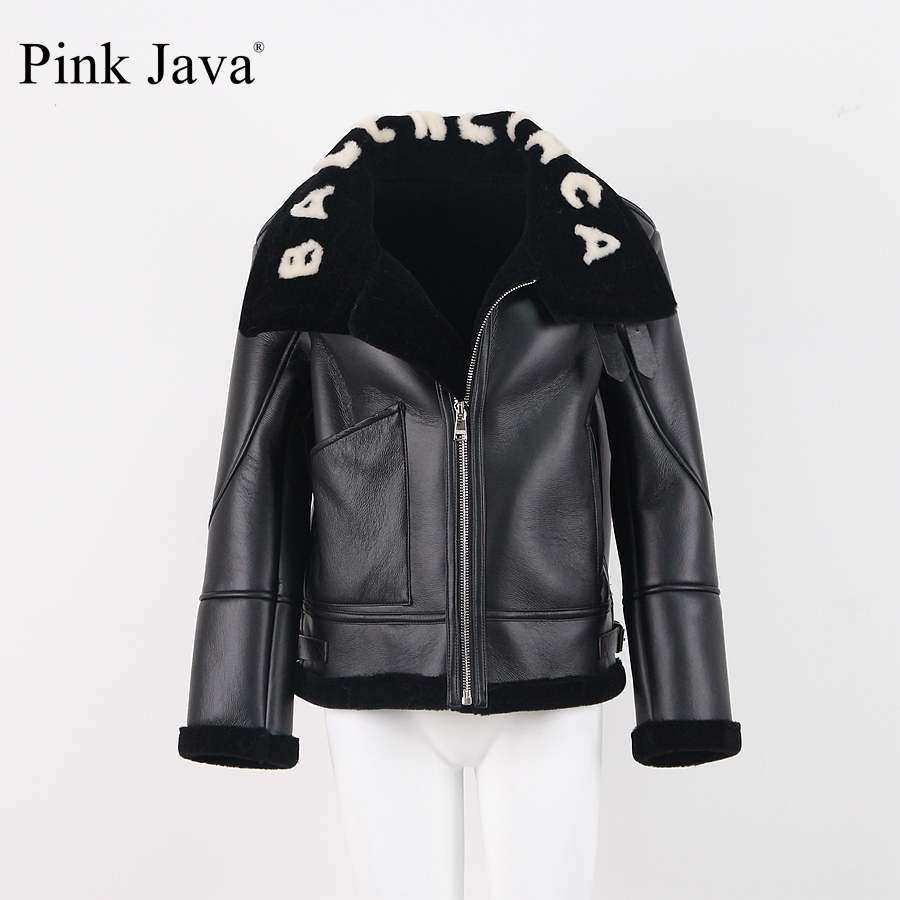 pink java QC8092 2018 free shipping women jacket real sheep fur lining and high quality PU