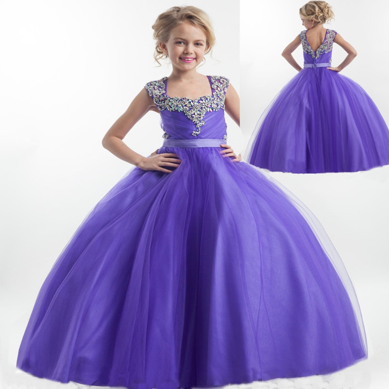 New Kids Children Dresses Birthday Party Kids Ball Gowns Purple Flower Girls Dress Pageant Princess Dresses