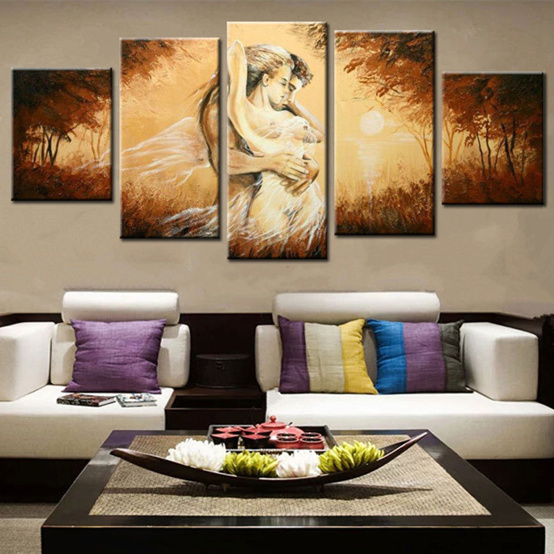 Sexy Woman & Man Pictures Large 5 Panel Painting Handpainted Abstract Nude Oil Paintings on Canvas Modern Home Decor Wall Art