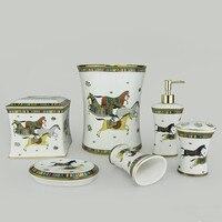 Шесть частей Ванная комната набор керамической коробка ткани мусор набор мыльницей дозатор для жидкого мыла Зубная щётка держатель Ванная