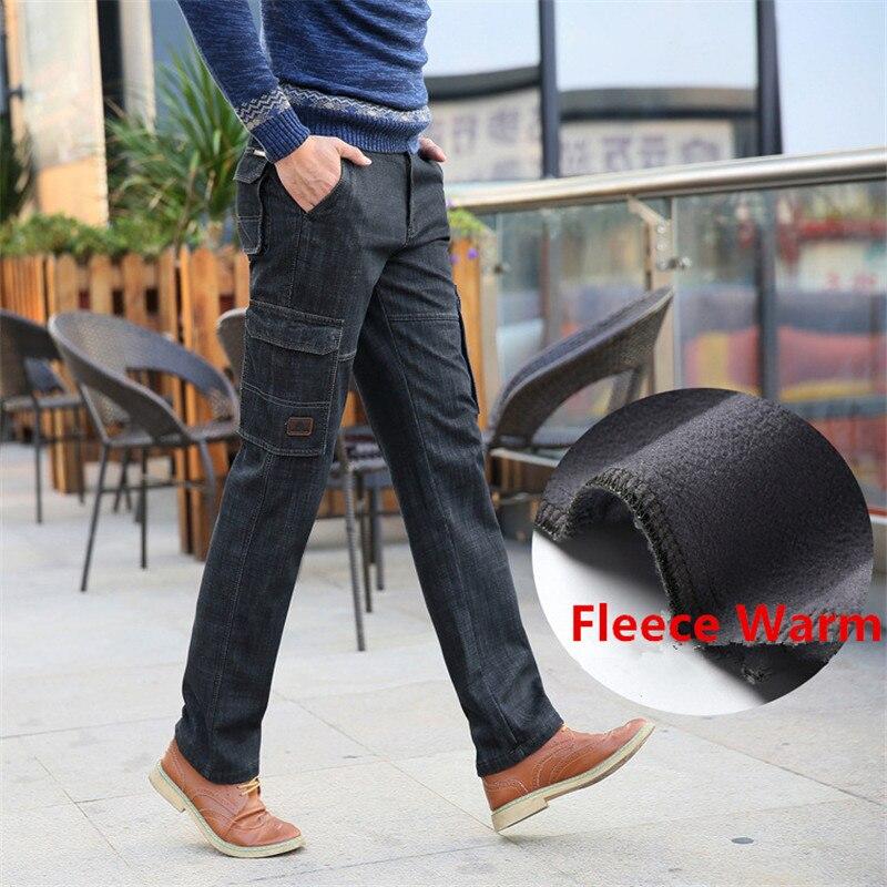 Nianjeep 2017 Fleece Warm Winter Cargo Pants Denim   Jeans   Men Casual Multi-pocket   Jeans   Brand Men's Clothes Military 338