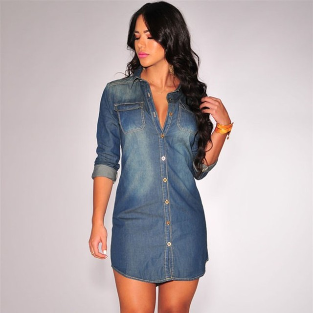 f43d9e150d3 Denim blue jeans dress work office wear retro casual style winter autumn long  sleeve warm short mini thin shift shirt dresses