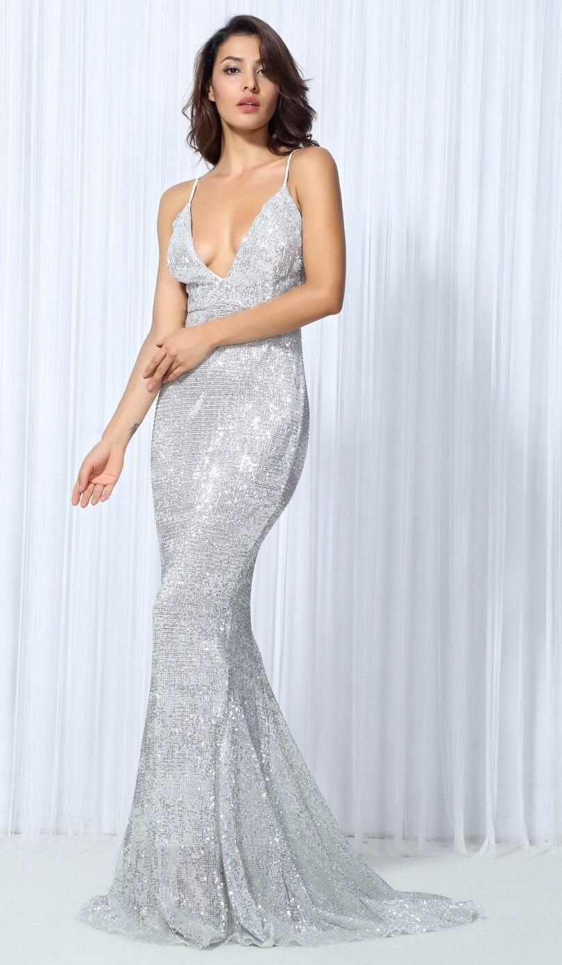 Silver Sequin Dress, Maxi, Sleeveless, V Neck, Open Back-in Dresses ...