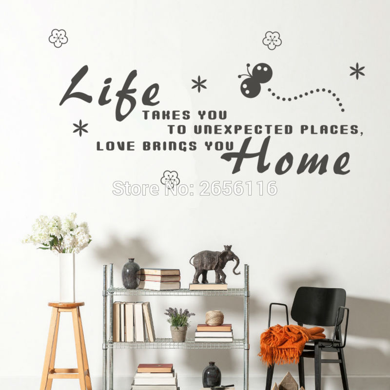 Butterfly and flower English Quotes Wall Decal for Children Room Love Brings You Home DIY Wall Stickers for Home Decoration