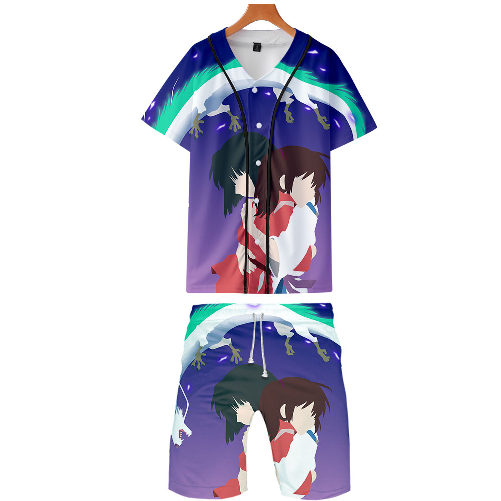 2019 Spirited Away Two Piece Set Jackets And Shorts Kpop Fashion New Brand Cool Print Spirited Away Baseball Jacket Set For Men