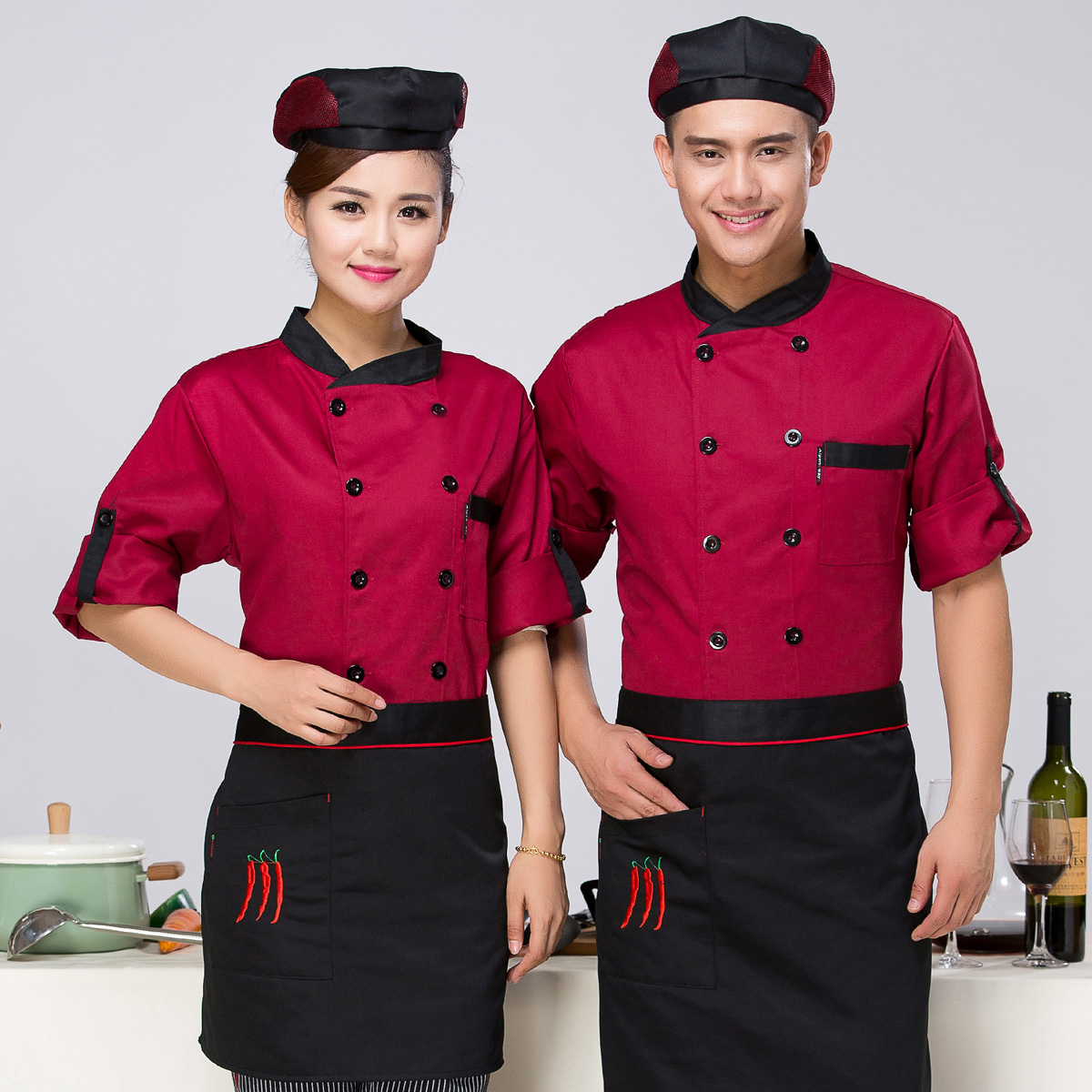 Chef Clothing Spring Autumn Uniform Hotel Restaurant Kitchen Work Clothes Long Short Sleeves Chinese Western Chef Needs J019