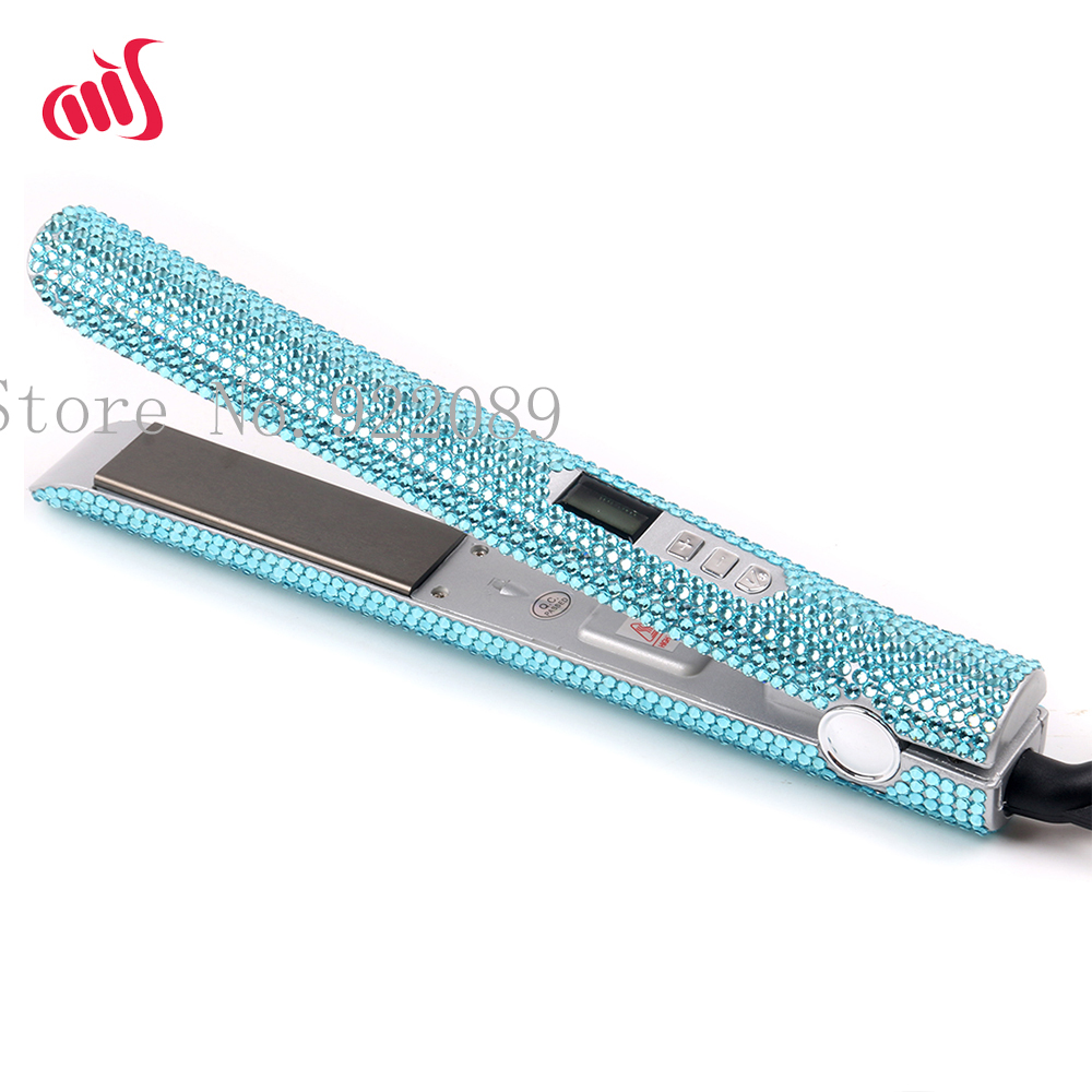 Professional Crystal Hair Flat Iron Titanium Plate Diamond Hair Straightener Crystal Hair Styling Tools with light blue Crystals
