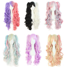 Long ponytail purple pink lolita curly wig