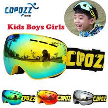 COPOZZ Детские горнолыжные очки Малый Размеры для детей двойной UV400 Анти-Туман Маска очки на лыжах Девочкам Мальчикам сноубордические очки GOG-243