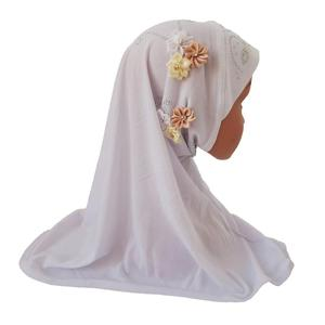 Image 3 - Meisjes Kids Moslim Hijab Islam Arabische Sjaal Sjaals Bloemen Hoofddoek Arabische Caps Ramadan School Strass Kind Hoofddeksels Hoed Mode