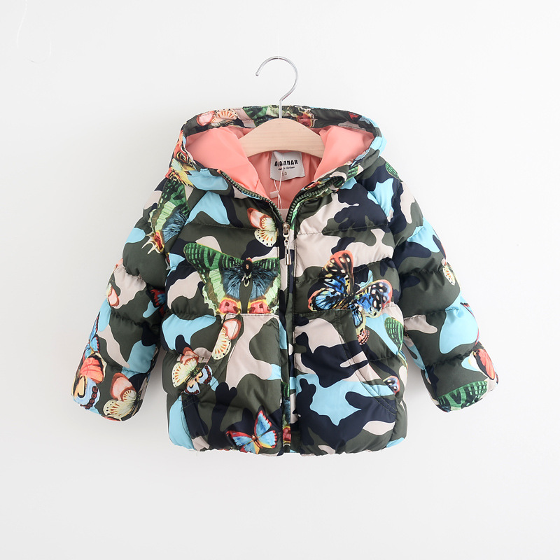 Kids Winter Jacket Leisure Children Printing Cotton Camouflage Parkas 2016 New Butterfly Girls Thick Warm Hooded Coat