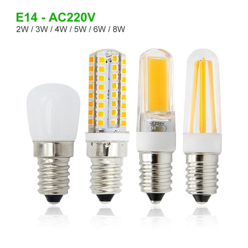 Светодиодная лампа E14 Mini, 1 шт., 2 Вт, 3 Вт, 4 Вт, 5 Вт, 6 Вт, 8 Вт, с регулируемой яркостью, 220 В перем. Тока, прожекторы, морозильная камера, холодильник, люстра