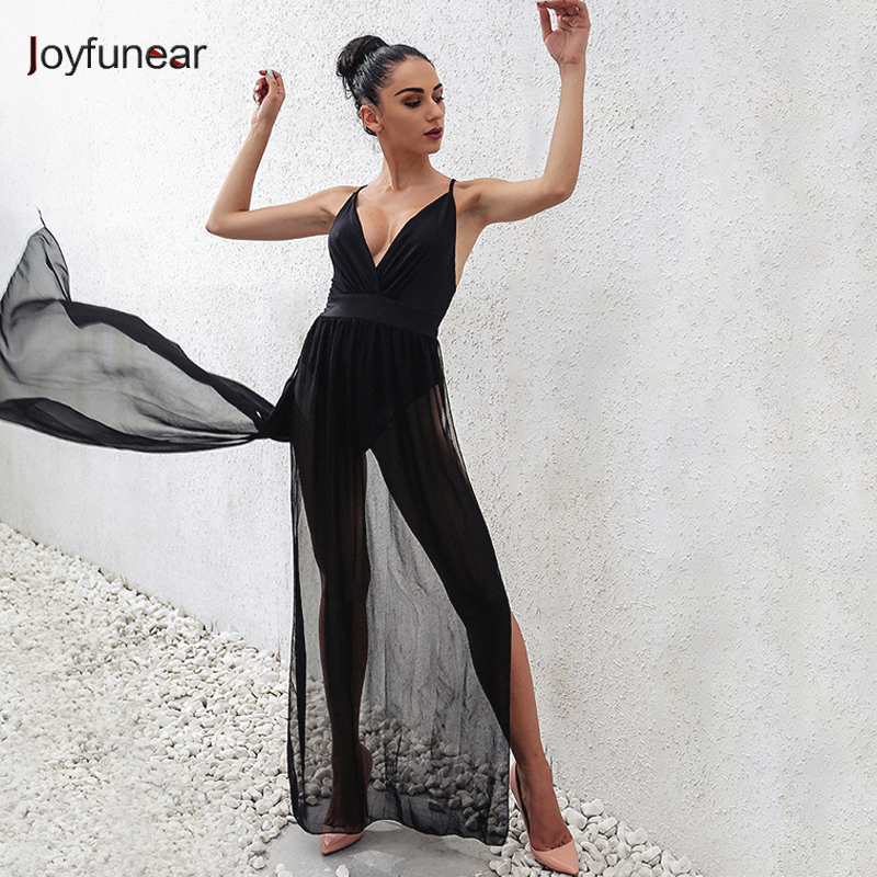 5a54d6fa3bd Joyfunear Woman Tight Bodysuit Sexy Overalls Night Club Rompers Party  Playsuit Bodycon Jumpsuit Macacao Sleeveless Jumpsuitz