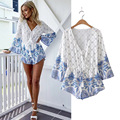 2016 New Arrival Rompers Women's Summer Jumpsuit V-Neck Printing Fashion Playsuits Women Shorts Combination S-XL