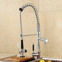 Смеситель для кухни вытащить керамические аксессуары двойная пружина torneira холодной водопроводной воды кран смеситель для кухни весна краны ICD60076