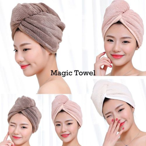 Magic Hair Drying Towel Hat Microfibre Quick Dry Turban For Bath Shower Pool Machine Washable Cap