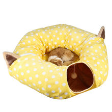 Transer Foldable Cat Cloth Playing Pipe Pet Bed Cat Barrel Cat Yellow Apartment Pop-Up Stackable Bed 18 Dec24 p45(China)