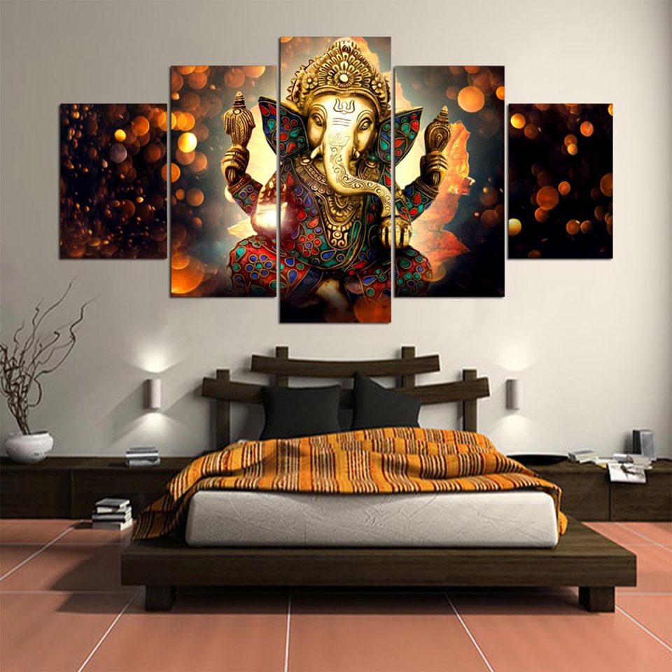 Us 5 59 42 offcanvas painting wall art home decor frame 5 pieces ganesh elephant trunk god for living room modern hd printed landscape picture in