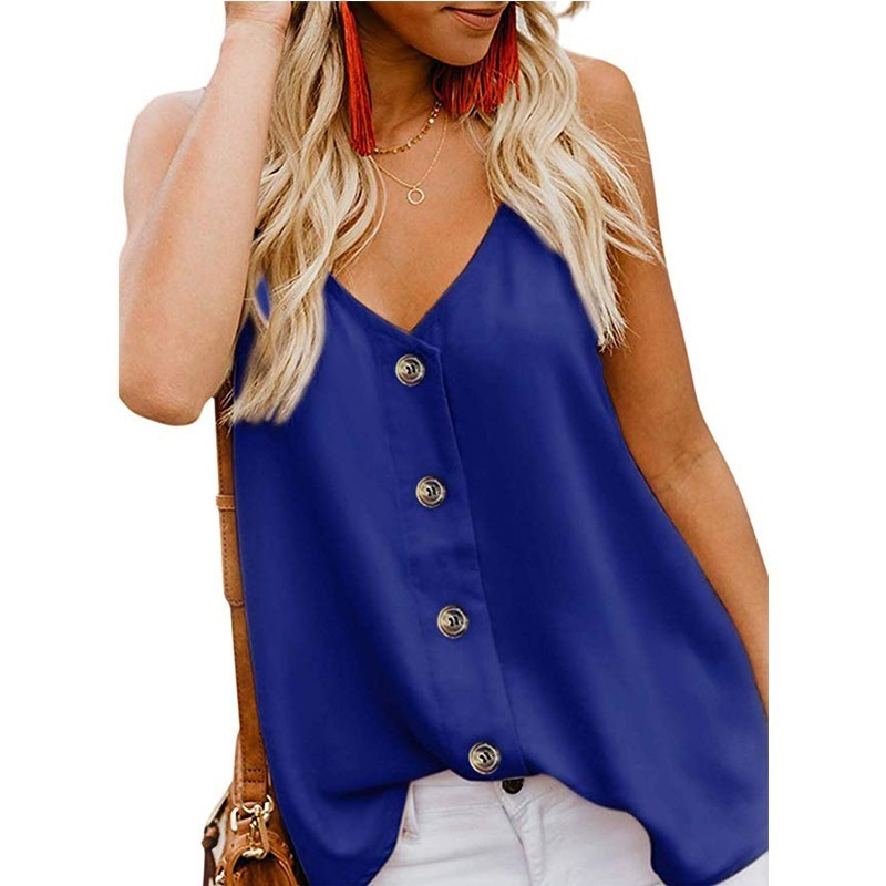 2019 Solid Color Maternity Clothes V-neck Button Camisole Small Vest Plus Size Women Clothing Pregnancy Tops