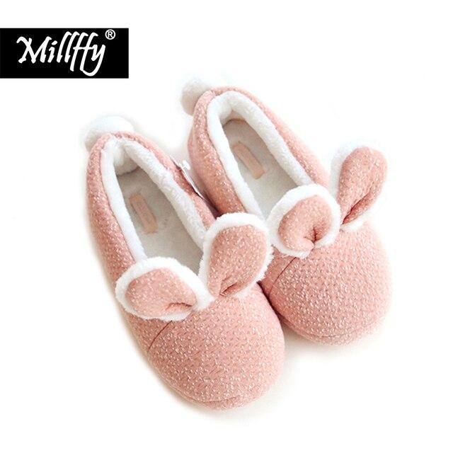 ¡Nuevo! Zapatillas de invierno Millffy con conejo adorable y cálido, zapatos antideslizantes para el dormitorio