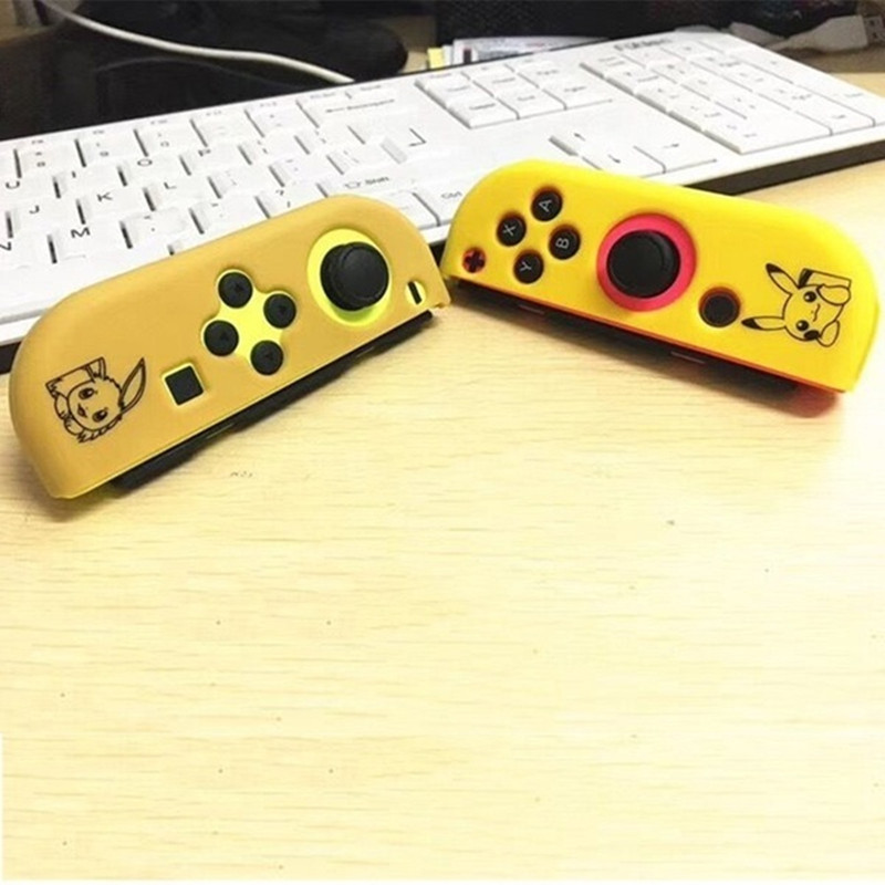 Left&Right Anti-slip Silicone Joy-Con Controller Protector Case Cover + Joystick Thumb Stick Grip Caps for Nintend Switch 1