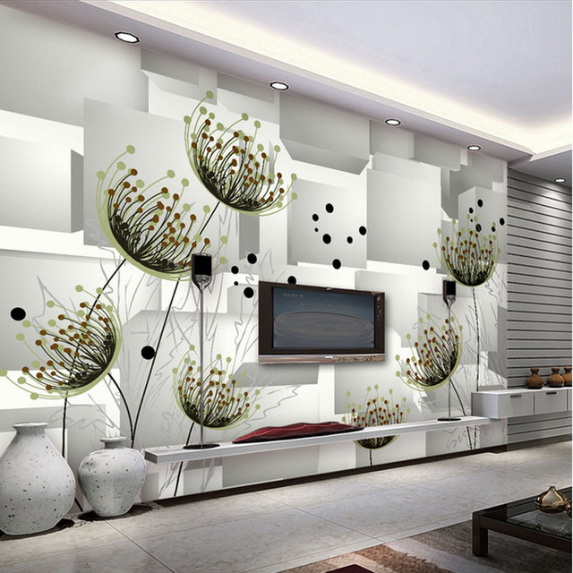 Abstract drawing large mural floral drawing room 3D stereo TV background  wallpaper simple modern bedroom