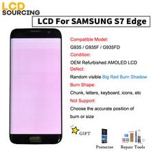 AMOLED Đỏ Lớn Đốt Cháy Bóng MÀN HÌNH Hiển Thị LCD Cho Samsung Galaxy S7 Edge G935 G935F G935FD Bộ Số Hóa Cảm Ứng với khung