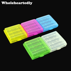 Newest 5pcs/lot Colorful Battery Holder Case 4 AA AAA Hard Plastic Storage Box Cover For 14500 10440 Battery Organizer Container(China)