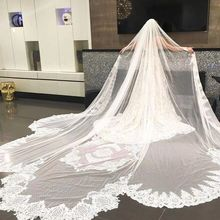 Real Photo Wedding Veil Lace Long Veil Cathedral Veil