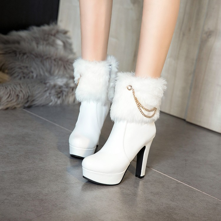 Big Size 11 12 13 14 15 16 17 18 19 Ladies with chunky high heels with fashionable chain side zipper ankle warmer bootsBig Size 11 12 13 14 15 16 17 18 19 Ladies with chunky high heels with fashionable chain side zipper ankle warmer boots