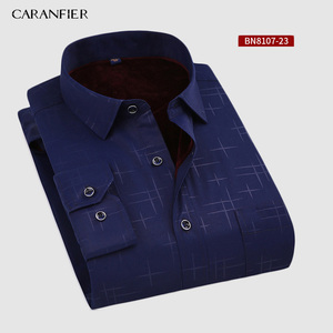 Image 4 - CARANFIER New Hot Selling Winter Casual Shirt Warm Long Sleeve Plaid Shirts Thick Velvet Mens Brand Dress Shirts Male Slim Fit