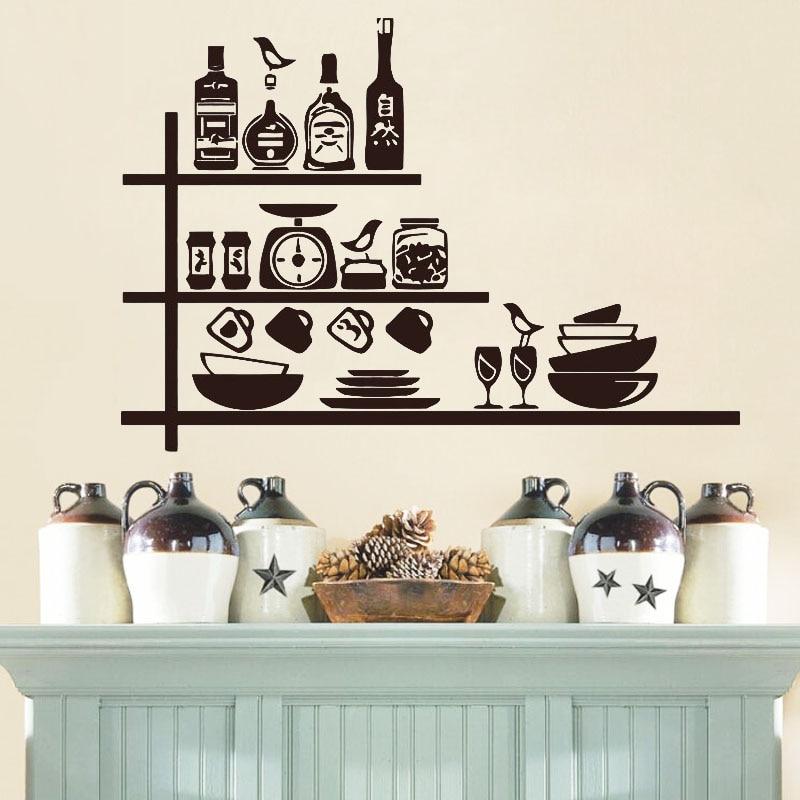 Stoviglie Spezie Scaffali Creativo Wall Sticker Per Cucina ...