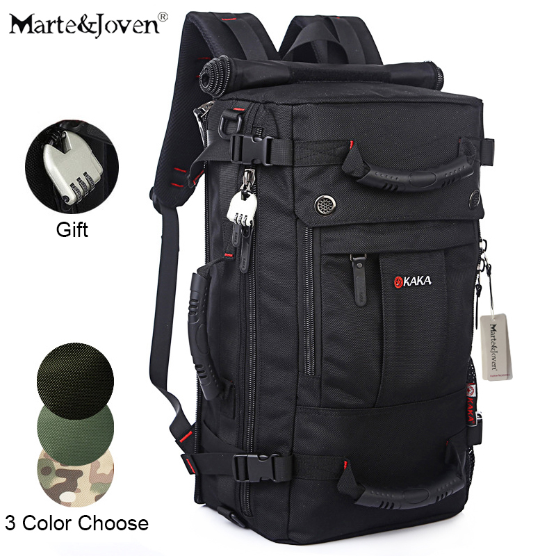 [Marte&Joven] High Quality Multi-function Mens Trekking Travel Bag Backpack 21 Best Waterproof Black Laptop Travel Rucksack