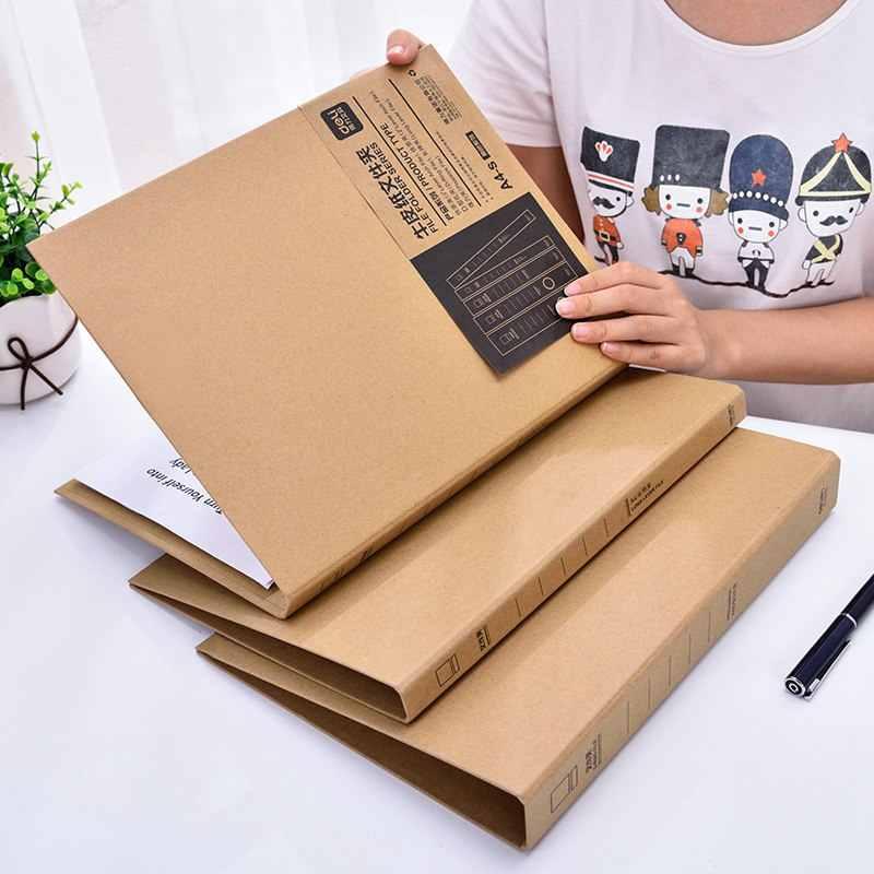 ديلي 1 قطعة الإبداعية خمر A4 كرافت مجلد وثائق D نوع ملف قوس رافعة كرافت الموثق مع زلة حالة مربع اللوازم المكتبية