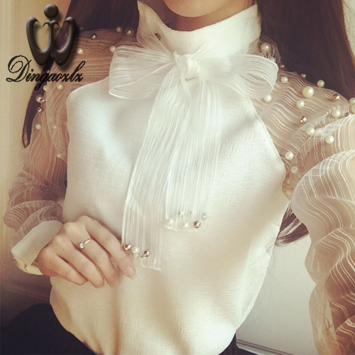 women clothing Korean elegant European white lace tops fashion bow beading mesh stitching long sleeve chiffon blouse shirt